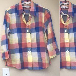 Foxcroft NYC Orange & Blue Plaid Button Shirt